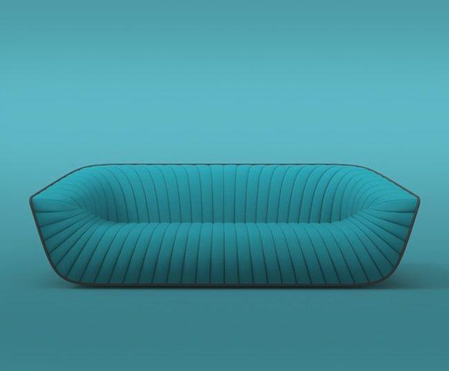 Nautil Sofa | Chic blue sofa which designed by Cédric Ragot for Roche Bobois. www.cedricragot.com & www.roche-bobois.com