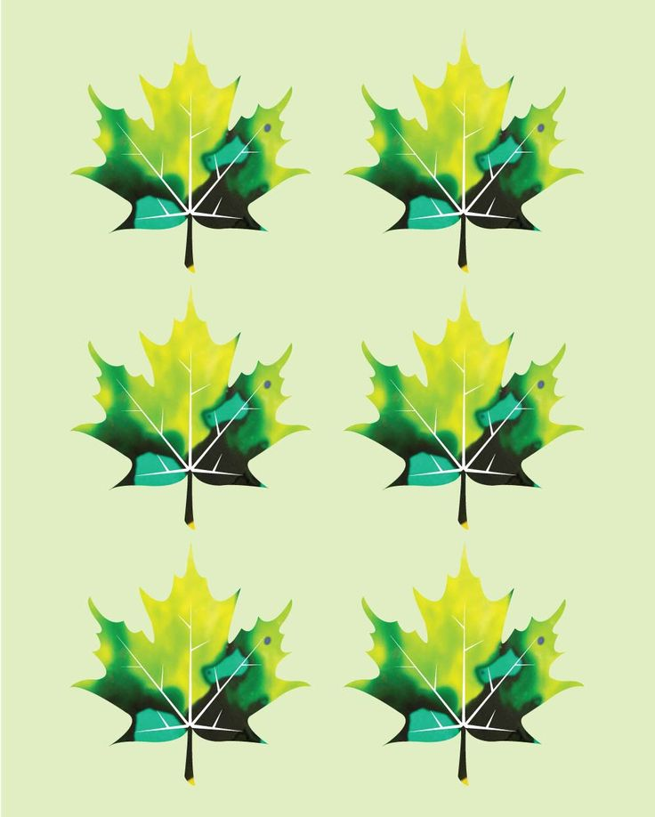 Abstract six maple leaves digital art print by ImaginationBoxStore