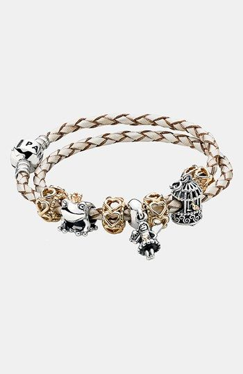 PANDORA Leather Wrap Charm Bracelet available at #Nordstrom I Love this!