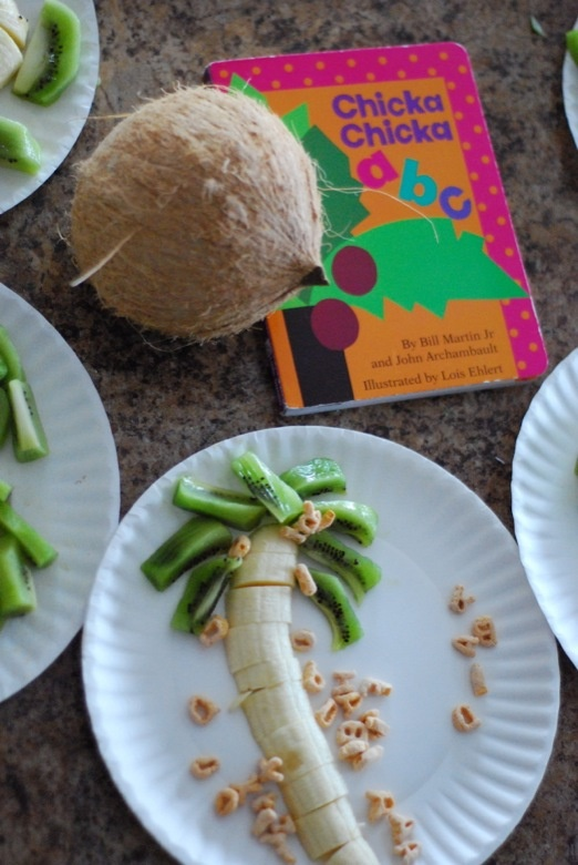 Baby (Toddler) Book Club activity and snack based on Chicka, Chicka Boom Boom/ABC by Bill Martin Jr. and John Archambault. Illustrated by Lois Ehlert.