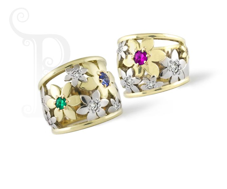 """Handmade 18ct Yellow & White Gold """"Catherine the Great"""" Daisy Rings, One Set With Pink Sapphires and Diamonds and the other With Emerald, Sapphire and Diamonds"""