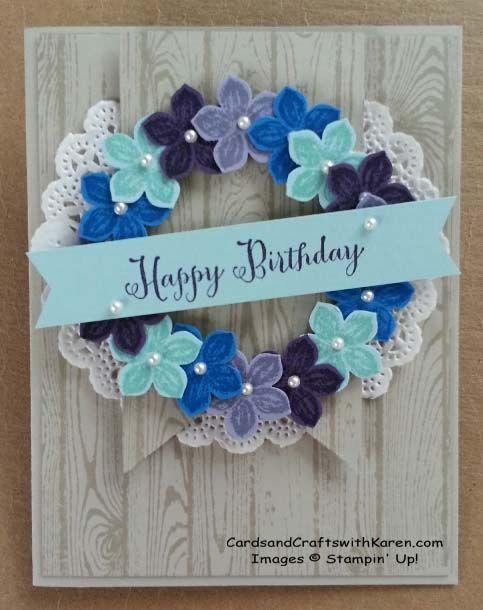Karen Thomas: Cards and Crafts with Karen – Happy Birthday Maya! | Cards and Crafts with Karen - 9/19/14 (Pin#1: Wreaths. Pin+: Woodgrain; Doilies)
