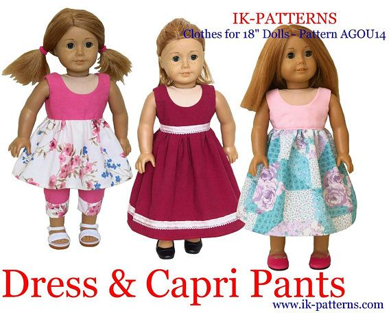 made for 18 inch American Girl Doll clothes patterns DRESS