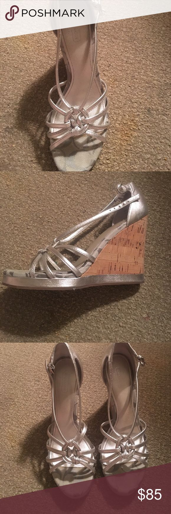 Size 8 Silver Coach Shoes Silver Wedge Coach strapped shoes- like new(worn once) Coach Shoes Wedges