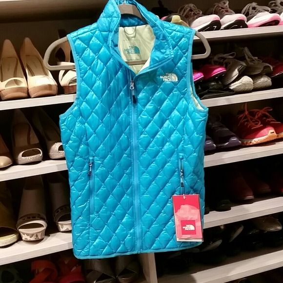 North Face Thermoball aqua blue vest Very warm and lightweight, this jacket featured the latest Thermoball technology.  It's a revolution in insulation technology. North Face Jackets & Coats Vests