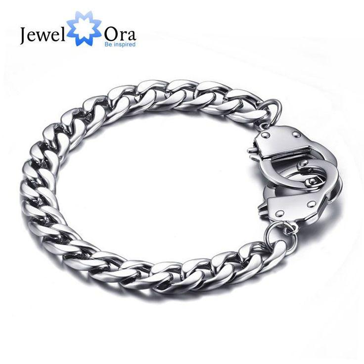 Hot Selling 205mm Stainless Steel Handcuff Bracelet Fashion Sports Men Bracelet & Bangle Casual Wrist Chain (JewelOra BA101407)