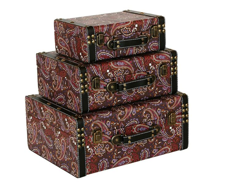 Storage Box   Paisley Pattern (Set Of 3) A Decorative Storage Box Set With