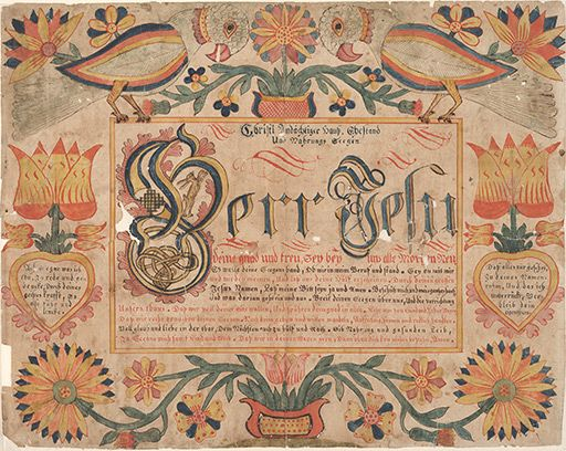 An example of Pennsylvania German fraktur, in this case a house blessing, or haussegen. It is written on behalf of the head of the household./frk00103.jpg