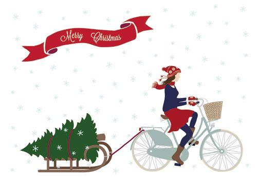 postcard 'Merry Christmas' by faltmanufaktur #bike #tree #sleigh