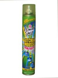 £0.95 - Flowershop Kitchen Mousse 500ml  Power clean system.  Fights grime, dirt and grease.  Helps kill germs.  Specially developed to keep your kitchen sparkling clean.