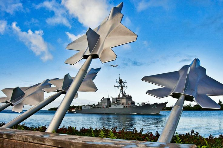 The USS Michael Murphy passes the Missing Man Formation at Pearl Harbor. They will never be Forgotten. We Remember —