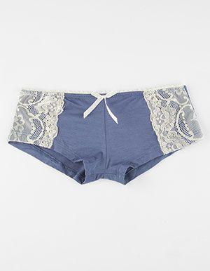 Lace Side Modal Boyshorts Blue