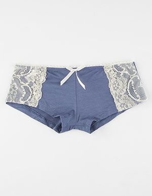 Lace Side Modal Boyshorts         Blue