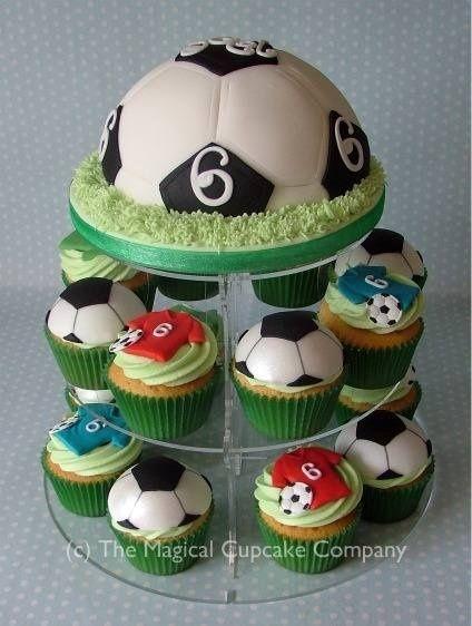Football cake - displayed on a wedding acrylics cupcake stand www.weddingacrylics.co.uk for your #sugarcraft #cake and #baking supplies!