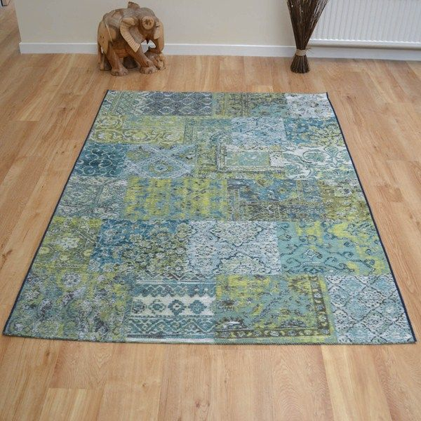 Capri rugs 91290 9000 in blue and green buy online from the rug seller uk