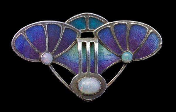 This is not contemporary - image from a gallery of vintage and/or antique objects. CARL HERMANN (Pforzheim) Jugendstil Brooch Silver Enamel Opal