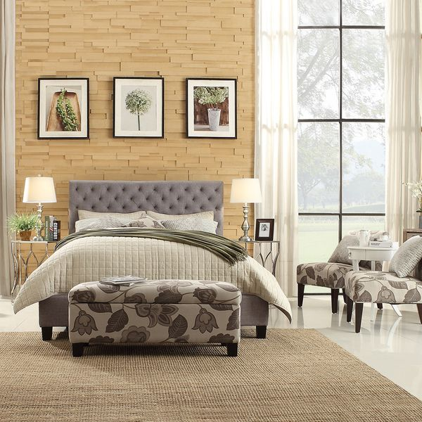 INSPIRE Q Kingsbury Grey Linen Tufted Upholstered Bed - Overstock Shopping - Great Deals on INSPIRE Q Beds