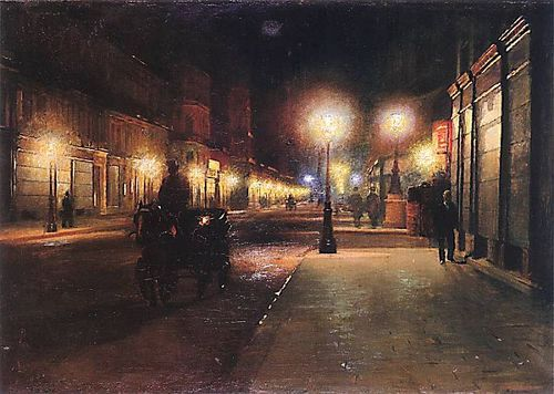 Paris Street at Night, oil on canvas, 1892, by Ludwik de Laveaux, Polish, 1868-1894,   Laveaux studied in Krakow, Poland, and in Munich, G...