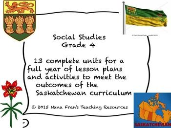 This is a bundle of units for the full year;s curriculum for Saskatchewan Grade 4 Social Studies. It contains 13 units plus the I Can Statements and teacher's checklist.All units are listed here so that you can purchase individual units if you choose to do so:Saskatchewan Grade 4 Social Studies I