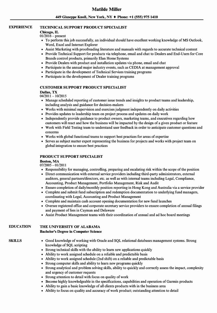 Customer support specialist resume inspirational support