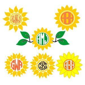 Sunflower Flower Pack Monogram Round Circle Frame Cuttable Design Cut File…