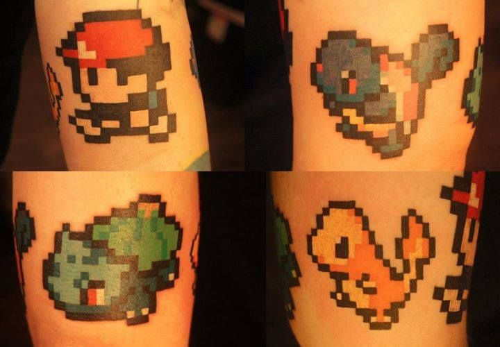 Chronic Ink Tattoo, Toronto Tattoo - some cuties Pokemons pixel tattoos done by…