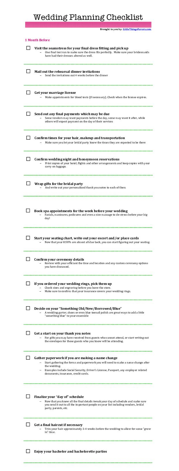 free printable #wedding #planning checklist 1 month before the wedding. click through to the website for a PDF printable copy