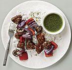 Grilled Steak Skewers with Arugula Chimichurri