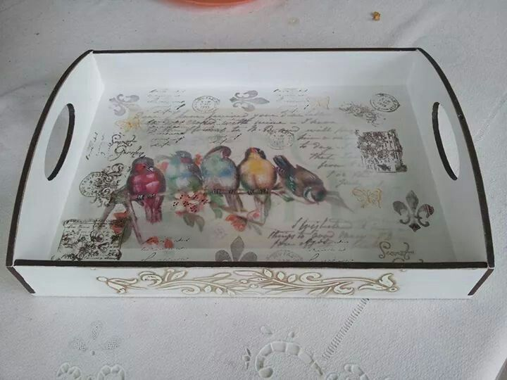 Decoupaged wooden tray. Creator unknown.                              …