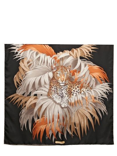 SALVATORE FERRAGAMO - LEOPARD PRINTED SILK SATIN SCARF - LUISAVIAROMA - LUXURY SHOPPING WORLDWIDE SHIPPING - FLORENCE