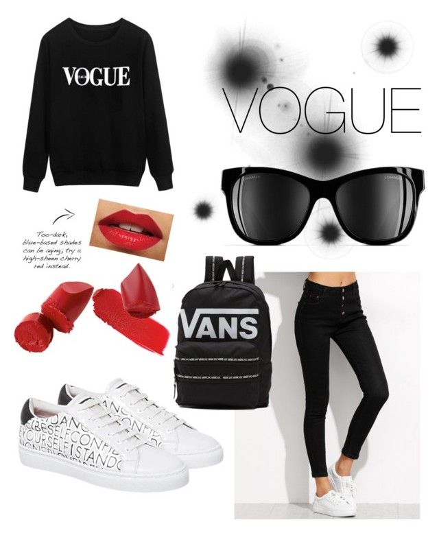 """VOGUE old school"" by kaoutar-rayour on Polyvore featuring Chanel, Vans, vogue, BlackWhite and oldschool"