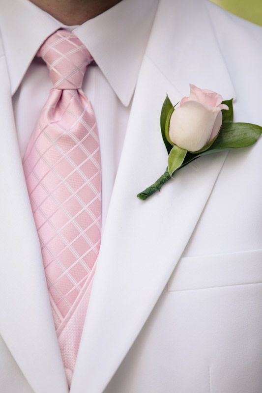 Pink + White groom/groomsmen attire for a pink palette themed wedding \\Photo Credit: EK Studios #pinkwedding