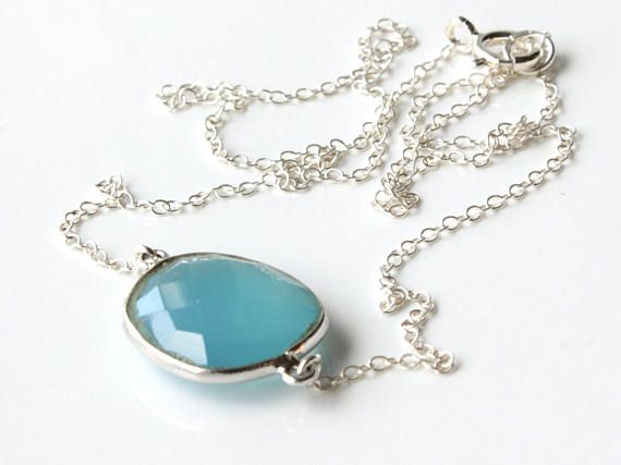 Blue Chalcedony Necklace Sterling Silver aqua blue gemstone