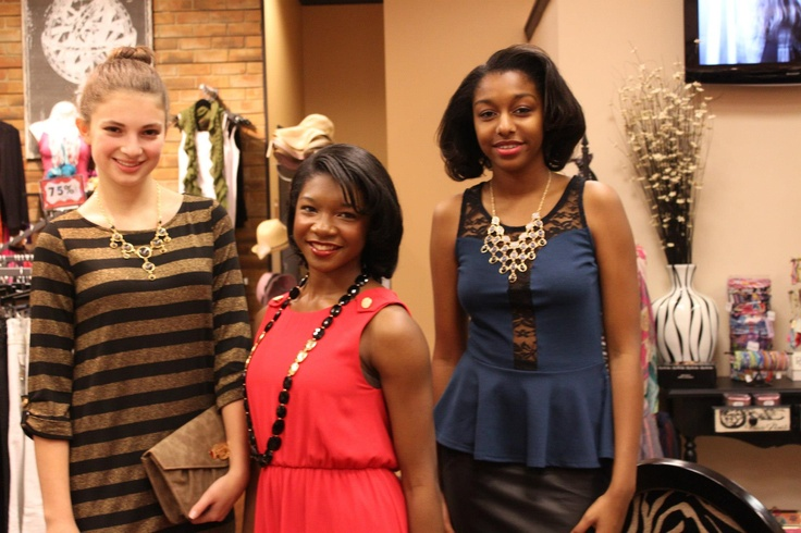 Special thanks to our beautiful models (from left to right) Kelsey, Jasmine, and Jiamond for rocking the runway for us in the Dress to Impress Fashion Show in Patrick Henry Mall today. Come check out Apricot Lane Newport News for great holiday dresses and more!
