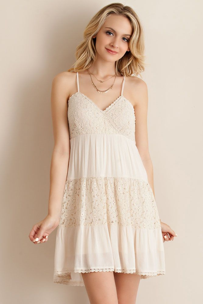 @knittedbelle #knittedbelle Lace Detail Sun Dress - Natural