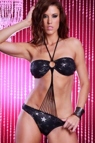 Black Silver Shimmer Star Print O Ring Tie Stringy Monokni Swimsuit