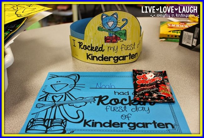 73 Cool Pete the Cat Freebies and Teaching Resources :: KindergartenWorks - First Day of School Hats and Certificate