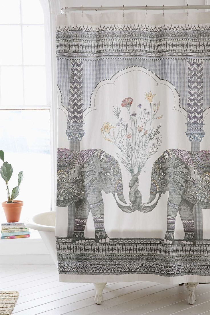 Luxury white shower curtain - Magical Thinking Elephant Shower Curtain