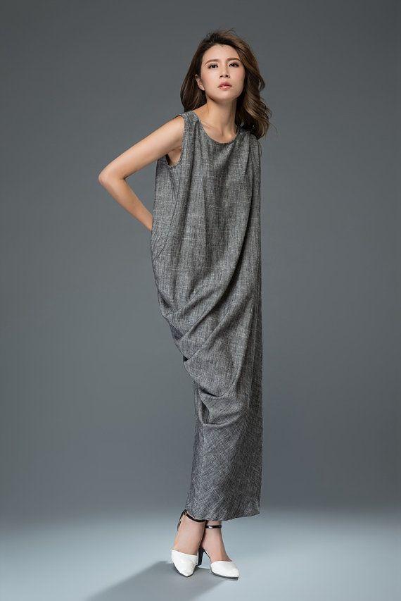 Linen Cocktail Dress Long Maxi Draped Sleeveless от YL1dress