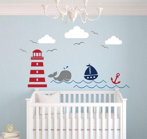 Nautical Theme Wall Decal Nursery Wall Decal by PinkiePeguinShop
