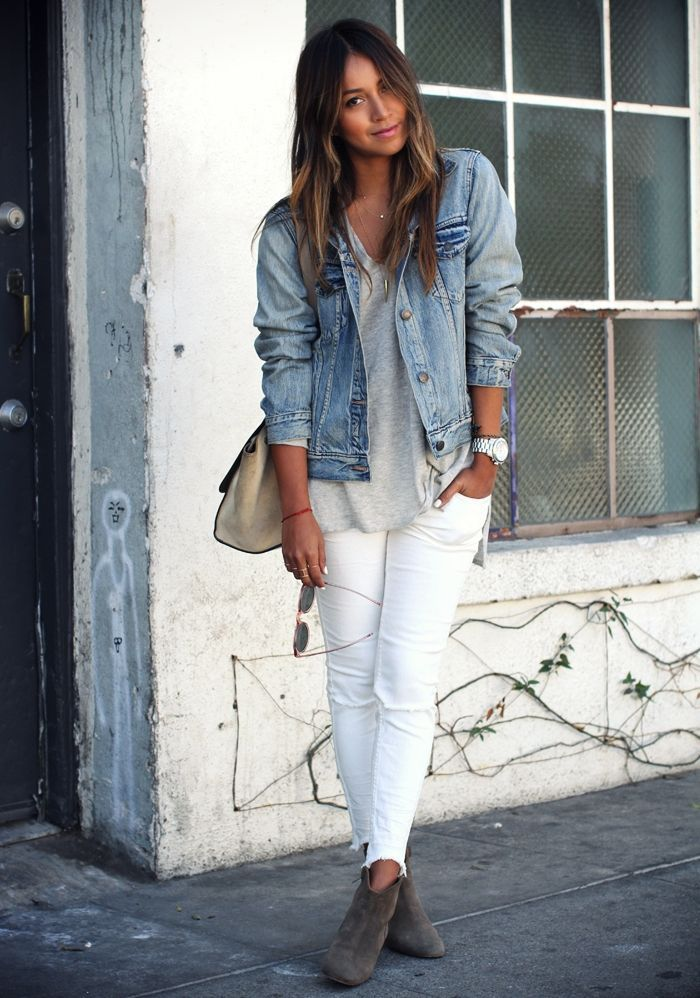 Shop this look on Lookastic:  http://lookastic.com/women/looks/denim-jacket-ankle-boots-skinny-jeans-crossbody-bag-watch-v-neck-t-shirt/5744  — Light Blue Denim Jacket  — Charcoal Suede Ankle Boots  — White Ripped Skinny Jeans  — Grey Suede Crossbody Bag  — Silver Watch  — Grey V-neck T-shirt