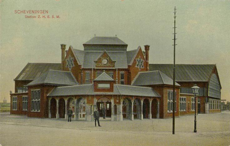 Scheveningen Station Z.H.E.S.M. Straatzijde Ingekleurd