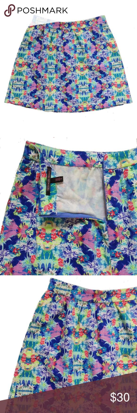 """Victoria's Secret Tropical Print Skirt Waist: approx. 14"""" Length: approx 17"""" (shoulder to hem)  Cotton. A brightly patterned A-Line skirt that's perfect to dress up or down! Hidden zipper closure at the back. No holes, stains or imperfections. Comes from a smoke free environment.  📦Bundles welcome 👌🏻Offers welcome through offer button. ❌NO trades, please. ⚡️Same/Next day shipping Victoria's Secret Skirts"""