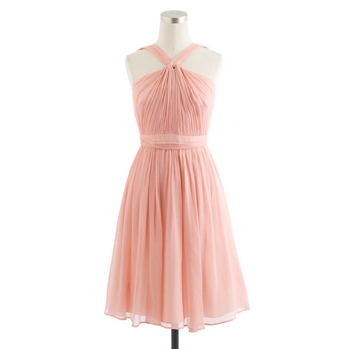 Maid of honor 39 s dress j crew sinclair in misty rose but for Different necklines for wedding dresses