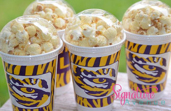 LSU Party Cups-Geaux Tigers-Popcorn Party Cups-Set of 8 on Etsy, $10.40