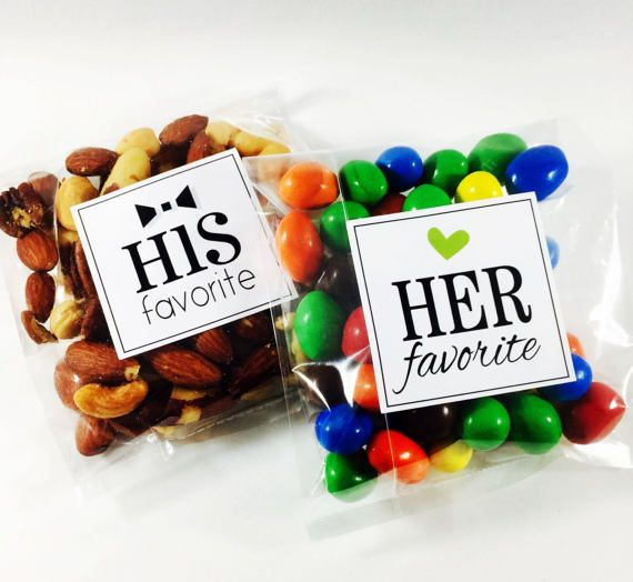 His Favorite, Her Favorite, Wedding Stickers, His and Her Favorite, Wedding Favor Stickers, Treat Bag Sticker, Sweet and Salty, Set of 20
