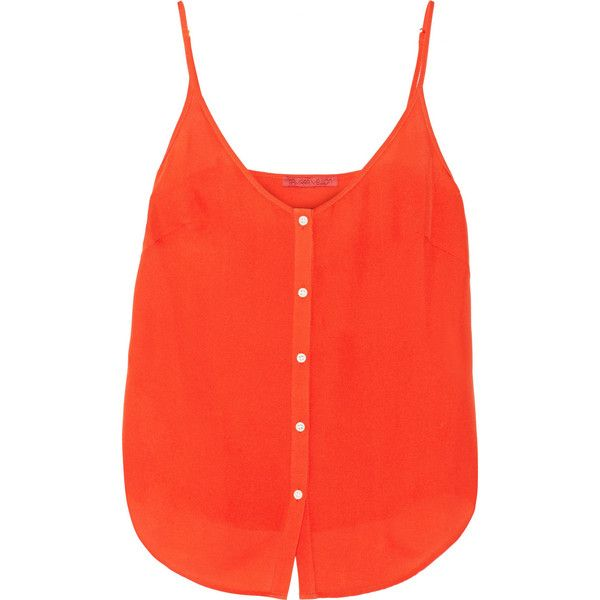 Tamara Mellon Silk-georgette camisole ($108) ❤ liked on Polyvore featuring intimates, camis, tops, orange, orange camisole, tamara mellon and orange cami