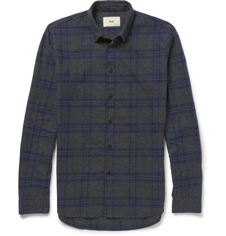 Folk - Storm Checked Cotton-Flannel Shirt MR PORTER