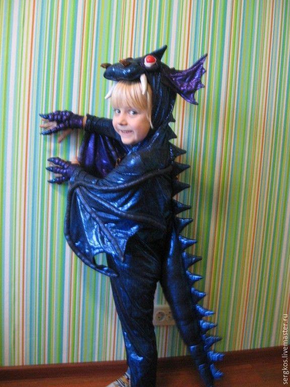 Купить Костюм дракона со светящимися глазами - темно-синий, дракон, Новый Год