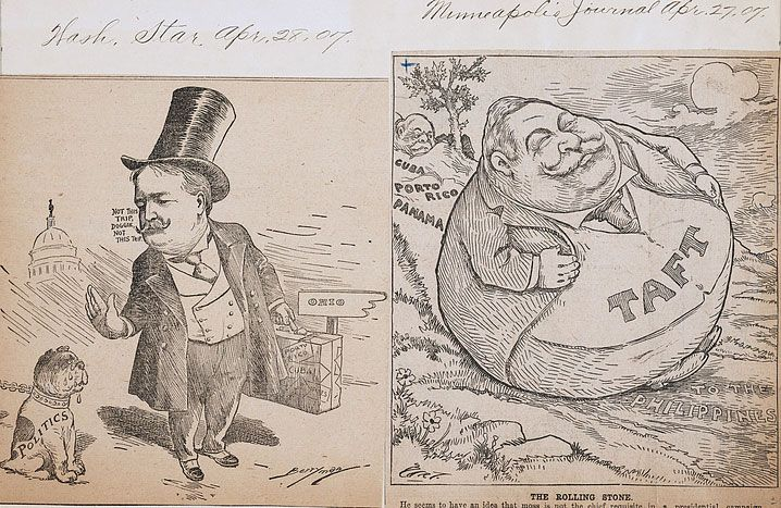 """Two political cartoons on one sheet: cartoon on left by Clifford Berryman published in the Washington Star, April 28, 1907, shows Taft leaving a dog labeled """"Politics"""" behind in Washington, D.C., as he travels to Ohio; cartoon on right by Charles Lewis Bartholomew published in the Minneapolis Journal, April 27, 1907, shows Taft as a stone rolling down a hill over Cuba, Puerto Rico, Panama, and the Philippines but gathering no moss."""